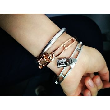 LV Louis Vuitton tide brand female fashion personality with lock letter embossed bracelet
