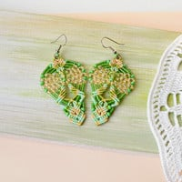 Unique green earrings, bohemian leaves, macrame earrings, micro macrame jewelry, boho chic, beaded leaves, chartreuse green pale peach mint