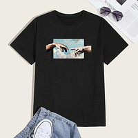 Fashion Casual Men Hands Graphic Round Neck Tee