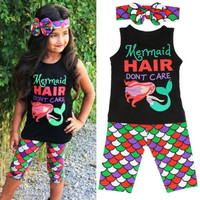"Toddler Girl's ""Mermaid Hair-Don't Care"" 3 Piece Boutique Clothing Set"