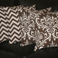 """Decorative Throw Pillows 20x20 Pillow COVERS brown and natural CHEVRON, Damask Accent Pillows Two SETS 20"""" chocolate pillows"""