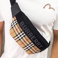 BURBERRY Women Men Canvas Classic Plaid Waist Bag Chest Bag Shoulder Bag Crossbody Satchel