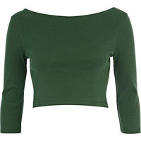 River Island Womens Dark green 3/4 sleeve crop top