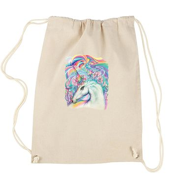 Rainbow Unicorn with Glitter Accents Drawstring Backpack