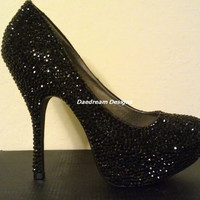Black Bling Pumps by DaedreamDesigns on Etsy