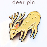 Deer Pin Deer Enamel Pin Reindeer Pin Stag Pin by boygirlparty