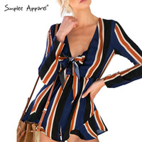 sexy bow striped women jumpsuit romper Summer style long sleeve party overalls Fashion club playsuits leotard