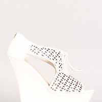 Bamboo Dreamer-34 Cut Out Lace Up Wedge Ankle Bootie