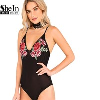 SheIn Bodysuit Women Sexy Black Low Back Floral Embroidery Mesh Bodysuit Sleeveless Summer Women Skinny Bodysuit
