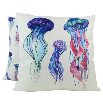 Jelly Fish | Pillow Cover | 18 x 18 | Throw Pillow | Home Decor | Modern Coastal Decor | Nautical
