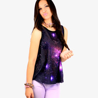 edgeLook - Trendy Fashion Women's Clothing / Clothes, Trendy Fashion Jewelry, Trendy Cute Outfits - Hottest Tops, Dresses, Denim and More - Celestial Print Trapeze Top