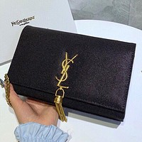 YSL New fashion letter tassel chain shoulder bag crossbody bag Black