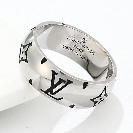 Image of LV Louis Vuitton new personality beveled lettering fashion couple men and women ring