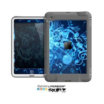 The Glowing Blue Music Notes Skin for the Apple iPad Mini LifeProof Case