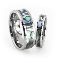 His and Her tungsten wedding ring sets with Mother of pearl inlay
