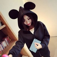Black Slant Pockets Zip Up Hoodie with Mickey Mouse Ears