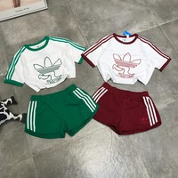 """Adidas"" Women Casual Cute Pattern Print Multicolor Stripe Short Sleeve Shorts Set Two-Piece Sportswear"