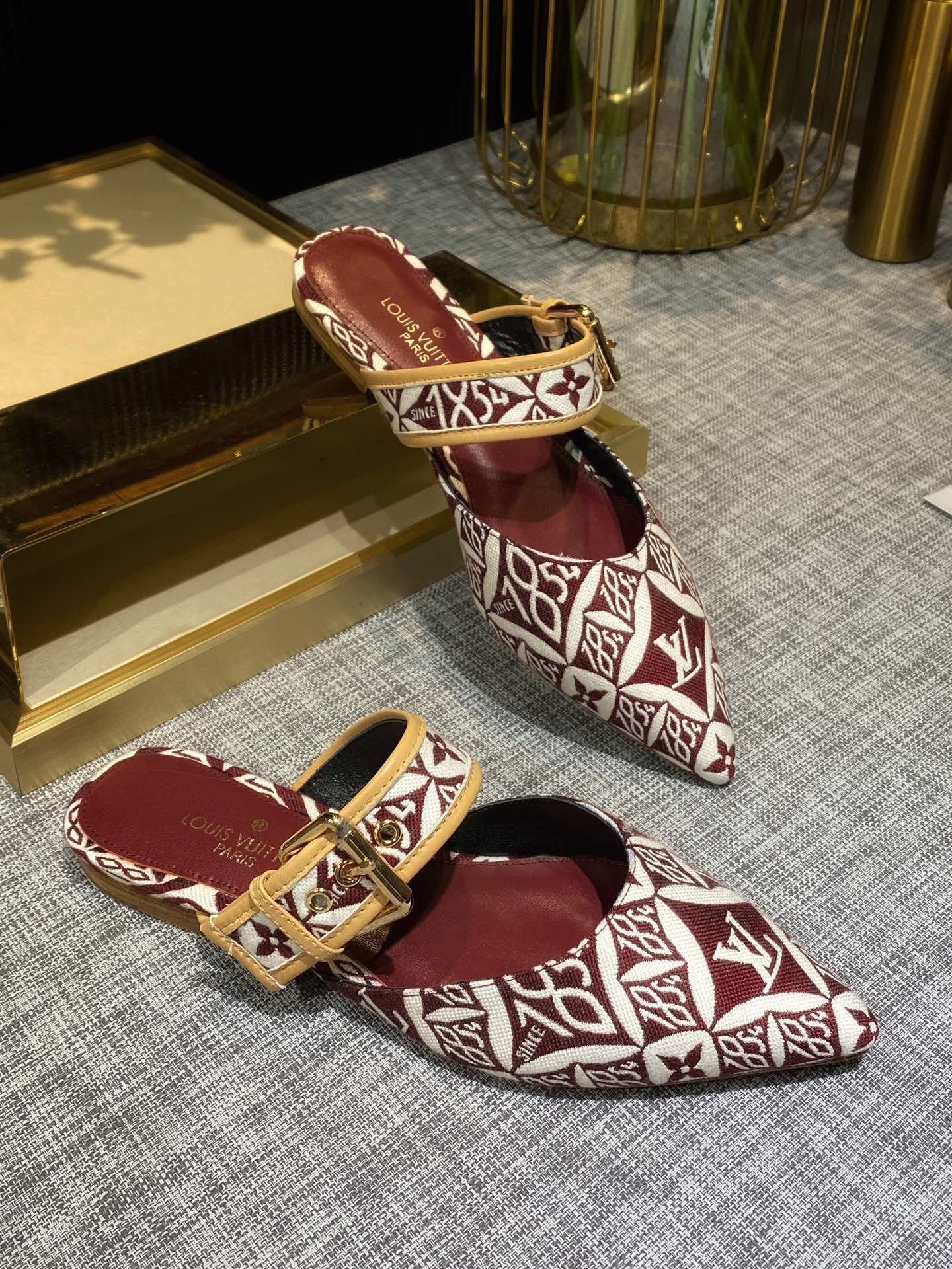 Image of LV Louis Vuitton Women Leather Fashion MONOGRAM CANVAS High heel Shoes SANDALS SLIPPER RED