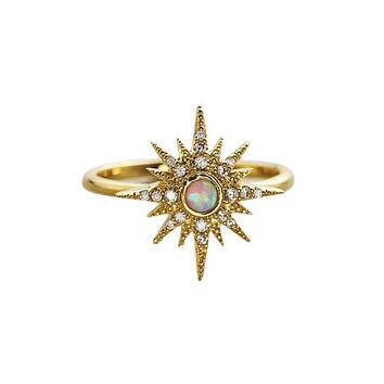 Gold Starburst Ring with Opal