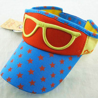Multicolor sunglass embroidery boy girl sun Block visor hat kid cap