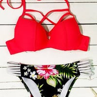 Cupshe Summer Blooming Halter Bikini Set