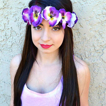 Purple Pansy Headband #C1040