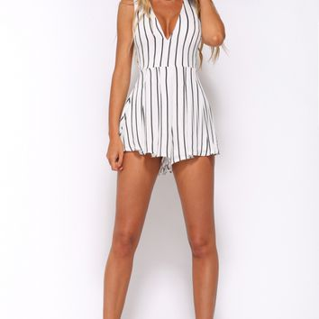 Night Fever Playsuit White