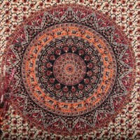 Twin Hippie Tapestry, Hippy Mandala Bohemian Tapestries, Indian Dorm Decor, Psychedelic Tapestry Wall Hanging Ethnic Decorative Tapestry, 54 x 84 Inches