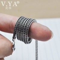 V.YA Real Pure 925 Sterling Silver 2.8MM Chain Necklace Men Vintage Design Foxtail Shape Chains Men