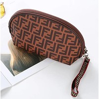 FENDI Hot Sale Women Retro Zipper Toiletry Handbag Cosmetic Bag Purse Wallet Brown