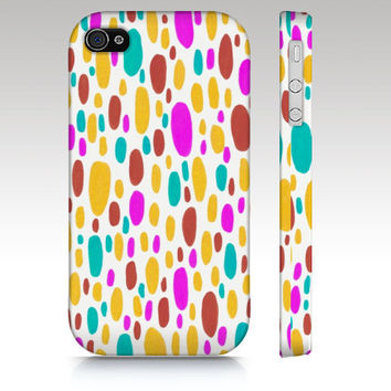 iPhone Case, iPhone 4s case, iPhone 4 case, paint splatter, abstract painting, dots in pink yellow teal, art for your phone
