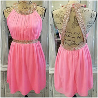 ALL THAT GLITTERS HOT PINK CHIFFON DRESS