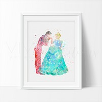 Cinderella & Prince Charming Watercolor Art Print