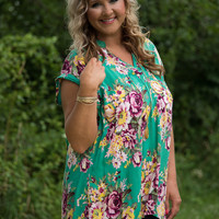 Curvy| It's Simply Irresistible Floral Blouse - Green