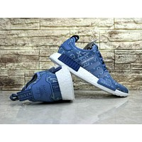 Louis Vuitton LV x Adidas NMD R1 Light Blue BA7257 Sport Running Shoes Classic Casual Shoes Sneakers