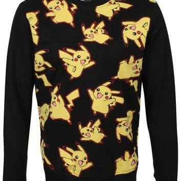 Pokémon Pikachu All Over Print Men's Black Sweatshirt