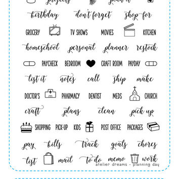 PLANNING DAY - Planner Stamps (Photopolymer Clear Stamps) planning, everyday, kawaii stamps, clear stamps, daily stamps