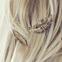 The Golden Feather Hair Pins