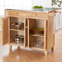 Stainless Steel Top Kitchen Island Counter Height Utility Table in Natural Wood Finish