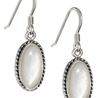 Mother of Pearl Roped Border Earrings