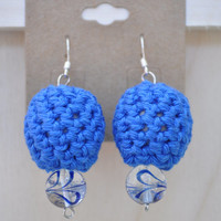 Blue Glass Crochet Earrings Handmade Fashion Jewelry Accessories Gifts for Her