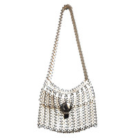 very rare PACO RABANNE disc bag with silver hardware