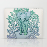 Emerald Elephant in the Lilac Evening Laptop & iPad Skin by Micklyn