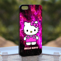 Hello Kitty Purple Galaxy Nebula - Design available for iPhone 4 / 4S and iPhone 5 Case - black, white and clear cases