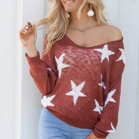 Sky Dreamer Brick Star Knit Sweater