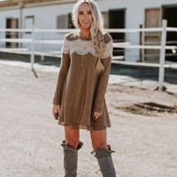 Arizona Heathered Long Sleeve Dress - Mocha