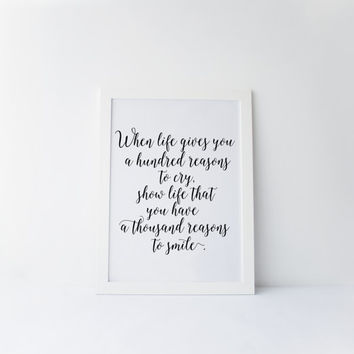 """PRINTABLE Art""""Reasons""""Motivational Quote,Inspirational Art,Smile Poster,Home Decor,Wall Decor,Dorm Room Decor,Typography Print,Instant"""