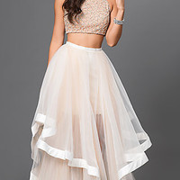 Glamour by Terani Two Piece Dress with Jewel Embellished Bodice