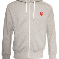 MENS RED HEART HOODY GREY