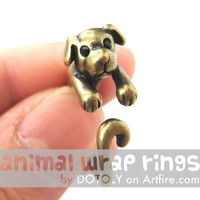 Realistic Puppy Dog Animal Pet Wrap Around Ring in Brass Sizes 4 to 9